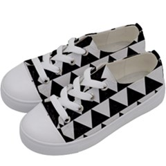 TRIANGLE2 BLACK MARBLE & WHITE LINEN Kids  Low Top Canvas Sneakers
