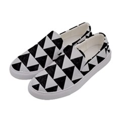 TRIANGLE2 BLACK MARBLE & WHITE LINEN Women s Canvas Slip Ons