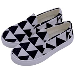 TRIANGLE2 BLACK MARBLE & WHITE LINEN Kids  Canvas Slip Ons