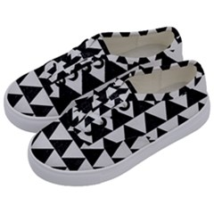 TRIANGLE2 BLACK MARBLE & WHITE LINEN Kids  Classic Low Top Sneakers