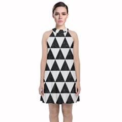 Triangle3 Black Marble & White Linen Velvet Halter Neckline Dress