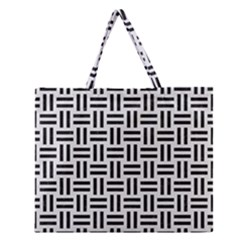 Woven1 Black Marble & White Linen Zipper Large Tote Bag by trendistuff
