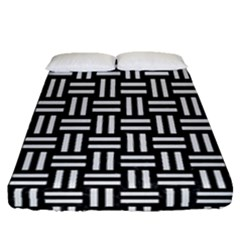 Woven1 Black Marble & White Linen (r) Fitted Sheet (queen Size) by trendistuff