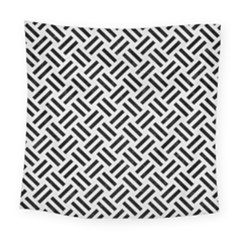 Woven2 Black Marble & White Linen Square Tapestry (large)
