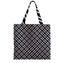 Woven2 Black Marble & White Linen (r) Zipper Grocery Tote Bag by trendistuff
