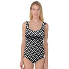 Woven2 Black Marble & White Linen (r) Princess Tank Leotard  by trendistuff