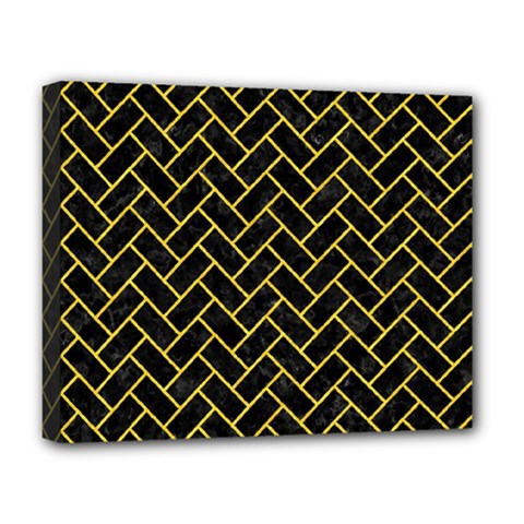 Brick2 Black Marble & Yellow Colored Pencil (r) Deluxe Canvas 20  X 16   by trendistuff