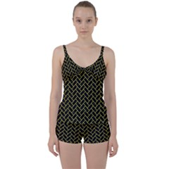 Brick2 Black Marble & Yellow Colored Pencil (r) Tie Front Two Piece Tankini by trendistuff