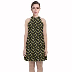Brick2 Black Marble & Yellow Colored Pencil (r) Velvet Halter Neckline Dress
