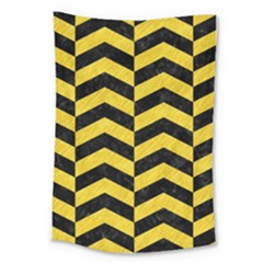 Chevron2 Black Marble & Yellow Colored Pencil Large Tapestry by trendistuff