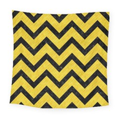 Chevron9 Black Marble & Yellow Colored Pencil Square Tapestry (large)