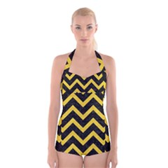Chevron9 Black Marble & Yellow Colored Pencil (r) Boyleg Halter Swimsuit