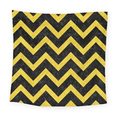 Chevron9 Black Marble & Yellow Colored Pencil (r) Square Tapestry (large) by trendistuff