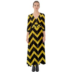 Chevron9 Black Marble & Yellow Colored Pencil (r) Button Up Boho Maxi Dress