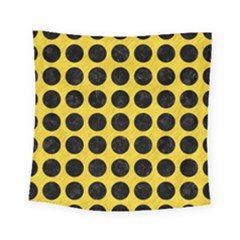 Circles1 Black Marble & Yellow Colored Pencil Square Tapestry (small)