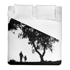 Black Father Daughter Natural Hill Duvet Cover (full/ Double Size) by Mariart