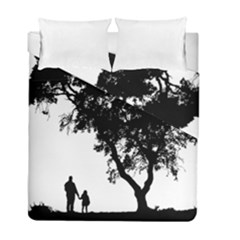 Black Father Daughter Natural Hill Duvet Cover Double Side (full/ Double Size) by Mariart
