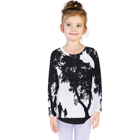 Black Father Daughter Natural Hill Kids  Long Sleeve Tee by Mariart