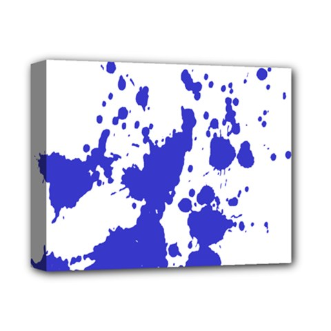 Blue Plaint Splatter Deluxe Canvas 14  X 11  by Mariart