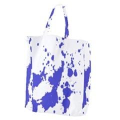 Blue Plaint Splatter Giant Grocery Zipper Tote by Mariart
