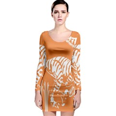 Animals Dinosaur Ancient Times Long Sleeve Bodycon Dress