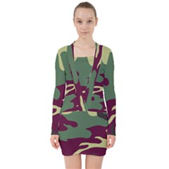 Camuflage Flag Green Purple Grey V Neck Bodycon Long Sleeve Dress