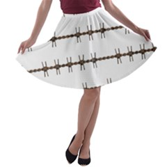 Barbed Wire Brown A-line Skater Skirt