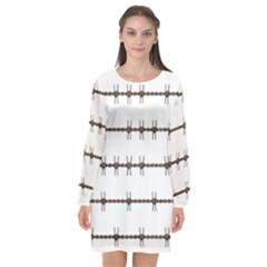 Barbed Wire Brown Long Sleeve Chiffon Shift Dress