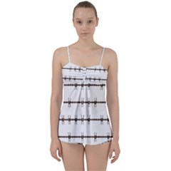 Barbed Wire Brown Babydoll Tankini Set