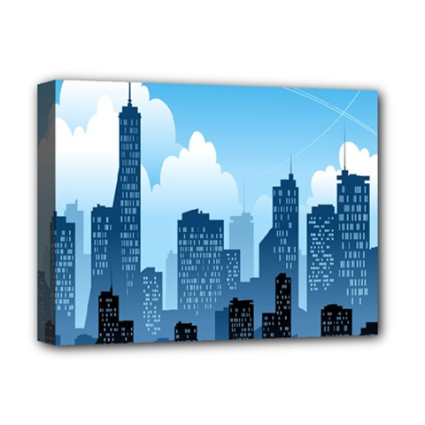 City Building Blue Sky Deluxe Canvas 16  X 12
