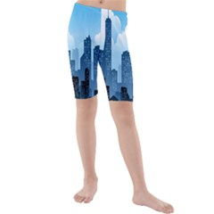City Building Blue Sky Kids  Mid Length Swim Shorts by Mariart