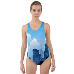 City Building Blue Sky Cut Out Back One Piece Swimsuit by Mariart