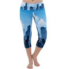 City Building Blue Sky Capri Yoga Leggings by Mariart