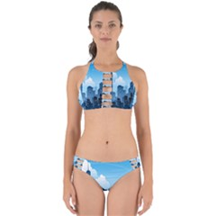 City Building Blue Sky Perfectly Cut Out Bikini Set by Mariart