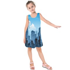 City Building Blue Sky Kids  Sleeveless Dress by Mariart
