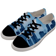 City Building Blue Sky Men s Low Top Canvas Sneakers by Mariart
