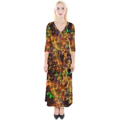 Christmas Tree Light Color Night Quarter Sleeve Wrap Maxi Dress by Mariart