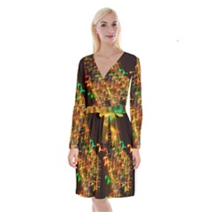 Christmas Tree Light Color Night Long Sleeve Velvet Front Wrap Dress