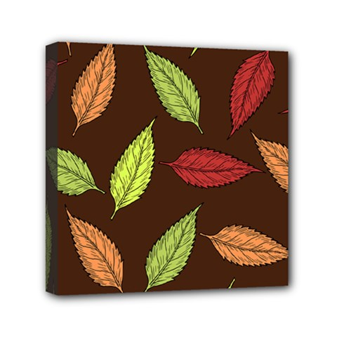 Autumn Leaves Pattern Mini Canvas 6  X 6  by Mariart