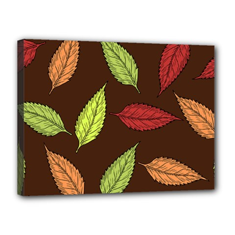 Autumn Leaves Pattern Canvas 16  X 12