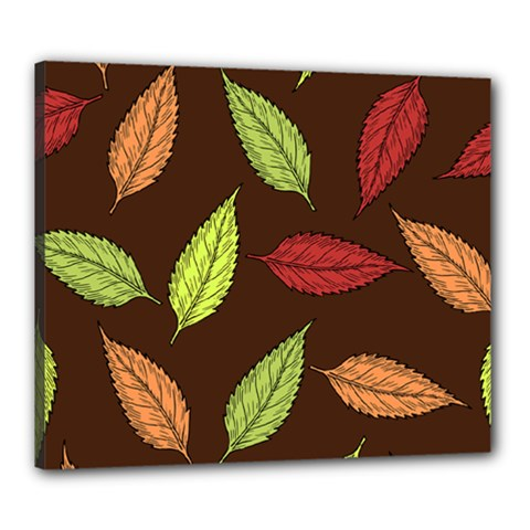 Autumn Leaves Pattern Canvas 24  X 20  by Mariart