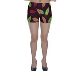 Autumn Leaves Pattern Skinny Shorts by Mariart