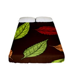 Autumn Leaves Pattern Fitted Sheet (full/ Double Size) by Mariart
