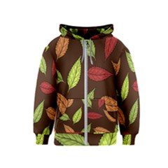 Autumn Leaves Pattern Kids  Zipper Hoodie