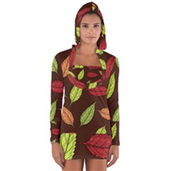 Autumn Leaves Pattern Long Sleeve Hooded T Shirt