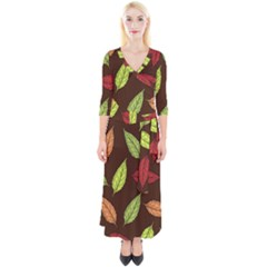 Autumn Leaves Pattern Quarter Sleeve Wrap Maxi Dress by Mariart