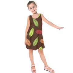Autumn Leaves Pattern Kids  Sleeveless Dress by Mariart