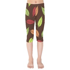 Autumn Leaves Pattern Kids  Capri Leggings  by Mariart