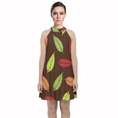 Autumn Leaves Pattern Velvet Halter Neckline Dress