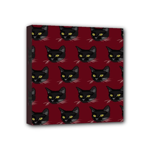 Face Cat Animals Red Mini Canvas 4  X 4  by Mariart